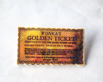 Willy Wonka Golden Ticket Pin