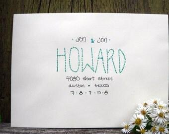 Colorful handwritten envelope addressing