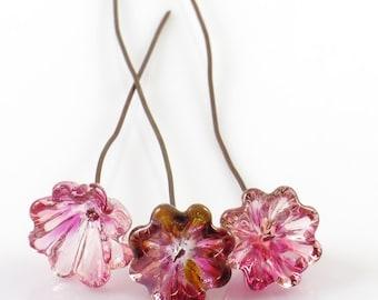 Pink Lampwork Headpins, Glass Bell Flower Headpins, Destash