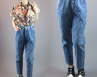 80s High Waisted Jeans Mom Jeans Vintage Denim Acid Wash Denim Ankle Length Pants Size M