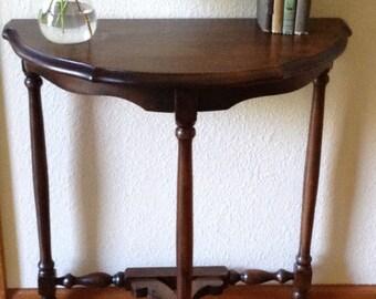Hold for Faith---Vintage Cherry Wood Hall table, Half Table, Half Table, Turned Legs,