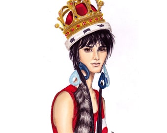 Queen Bee, Fashion Illustration print of Supermodel Kendall Jenner as Featured on Vogue Brasil Styling Moschino Dress