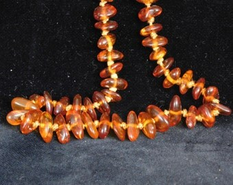 Long natural amber necklace-- hand knotted