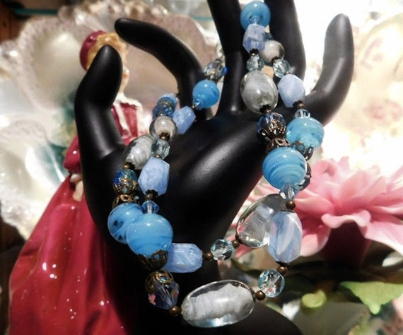 "Givre Glass Beaded Necklace Vintage  Mid Century 1960s 60s AB Aurora Borealis Lucite Bead Necklace 22"" Matinee Length Blue Necklace"