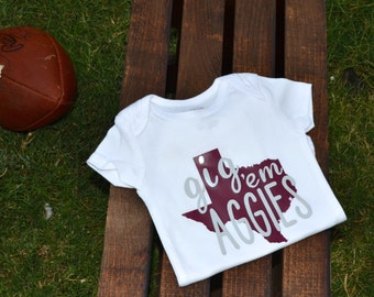 Texas A&M Baby Onesie® | Gig Em Aggies Onesie® | Aggie Toddler and Youth Shirt | Aggie Baby Onesie®