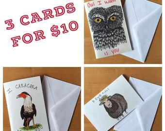 3 Blank Card Set of Original Drawings