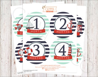 The William | Nautical Baby Boy 12 Month Growth Stickers Set