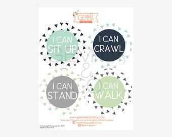 Baby Milestone Stickers Boys, Baby Bodysuit Stickers, Baby Achievement Stickers, I Can Stickers, Set of 8