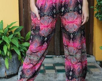 Women Harem pants Hippie  Pants Boho Pants Bohemian Style Feather Design Pink