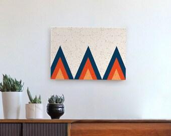 geometric art, mid century modern art, bohemian art, Scandinavian modern art, mid century art, blue, red, orange
