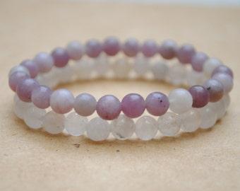 Lepidolite & Grey Quartz Mala Stack, Yoga Jewelry Lifestyle, Mala Beads Bracelet, Meditation, Purple and White, Prayer Beads, 6mm Wrist Mala
