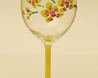 orchid hand painted wine glass