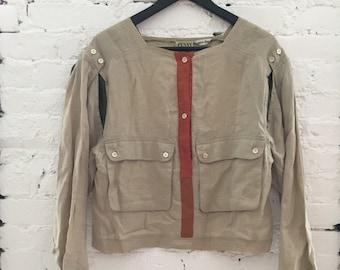 Vintage - Penny Black Avant Garde Linen Top