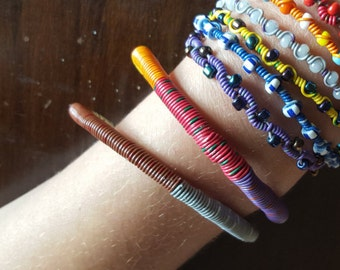 Upcycled telephone wire bangles