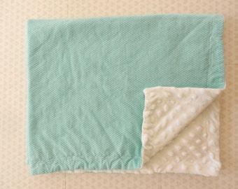 Aqua Flannel Baby Blanket, White Minky Baby Blanket, White Polka Dot Baby Blanket