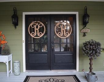 Wooden Monogram Door Hanger with Script Initial