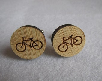 Vintage Bicycle Bamboo Cufflinks (WD300)