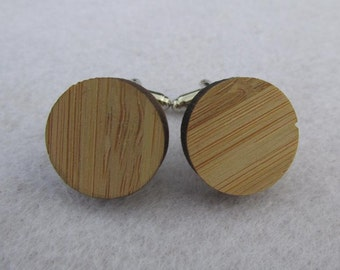 Circle Engraveable Bamboo Cufflinks (WD288)