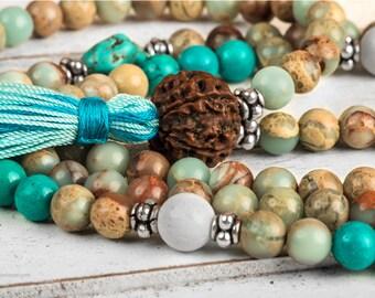 Mala Necklace, African Opal Jasper Meditation Mala With Turquoise & White Coral 108 Mala Beads - Yoga Mala, Buddhist Mala