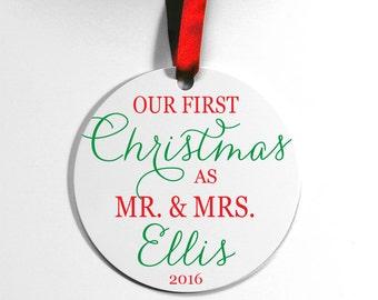 Mr & Mrs Ornament, Our First Christmas Ornament, Newlywed Ornament, Christmas Ornament, Wedding Gift, Couples Ornament, Custom Ornament