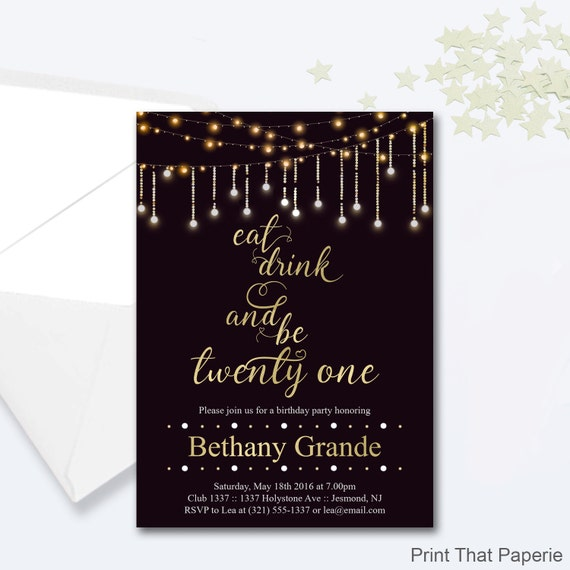 21st Birthday Invitation Fairy Lights Invitation Milestone