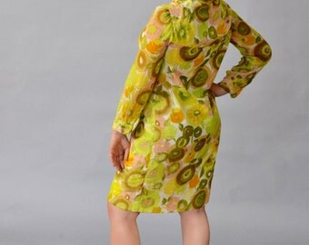 Liberty of London Mod Floral Dress with Buttons and Sheer Sleeves - Yellow, Pink, White, Green - 1960s/60s (Small-Medium)