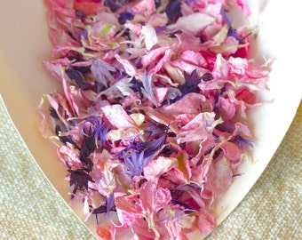 Real Flower Petal Confetti: All Natural, Pink and Purple, Biodegradable, Real Flower Petal Wedding Confetti, Enough for 20 People.