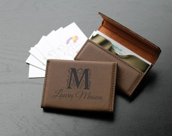 Personalized Business Card Holder, Custom Business Card Holder, Engraved Business Card Holder, Leather Business Card Holder --BCH-LDB-MASON