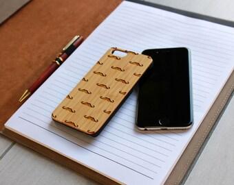 Personalized Iphone 6 case, Custom Iphone 6 case, Wood Iphone 6 case, Laser Engraved Iphone 6 case, Bamboo --IP6-BAM-Mustache ip6w