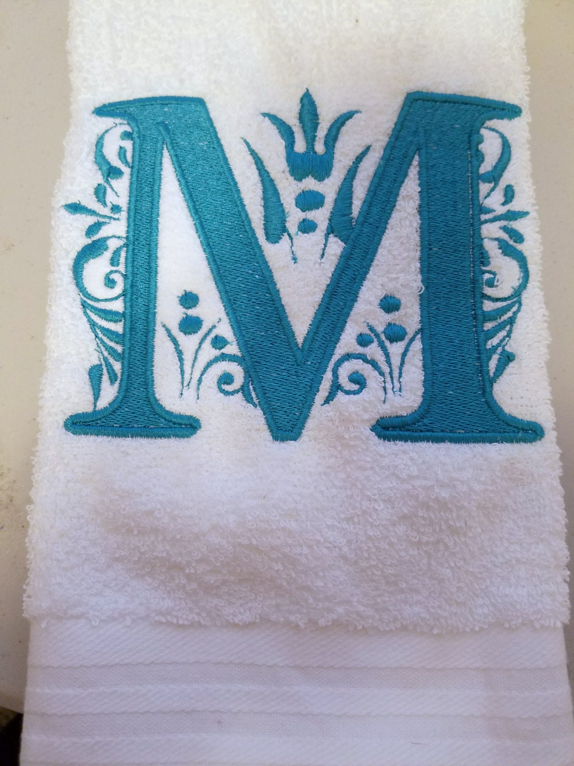 Towels embroidered monogram towels wedding towels bridal for Embroidered towels for wedding gift