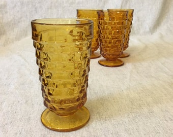 Vintage Indiana Whitehall Amber Glass Water Tumblers, Set of 4, 14 Ounce Cubist Amber Glasses