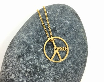 Peace Sign Necklace, Peace Necklace, Peace Pendant Necklace