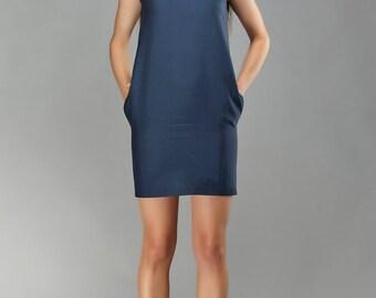 Navy Bow Sleeveless Dress, Cocktail Dress, Office Dress, Little Black Dress, Designer Dress, Silk Party Dress by OlenaMolchanova.