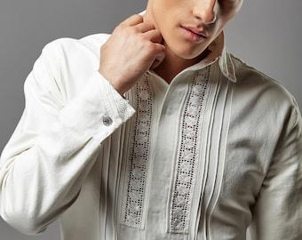 Ukrainian embroidery man shirt by Olena Molchanova, Ukrainian cut lace embroidery shirt, white linen embroidered shirt, handmade shirt.