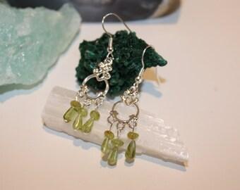 Peridot chandelier style earrings
