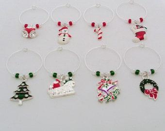 Set of 8 Christmas Themed wine charms