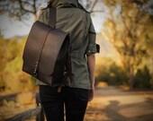 Handmade Leather Backpack | Brown | Stone Oil Leather | Adjustable Shoulder Straps