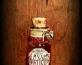 "Vintage Witches potion bottle, ""Love Potion"" Halloween decor"