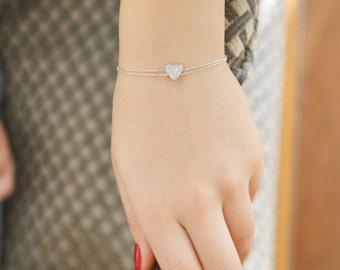 Heart Bracelet / Sterling Silver Valentine Bracelet / Cute Heart Bracelet / Mini Heart Bracelet / Valentines Day Gift