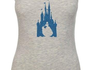 Disney Inspired Cinderella Castle Princess Glitter Vacation Racerback tank top 6633