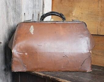 Vintage Doctor Bag, Large Genuine Cowhide Medical Bag