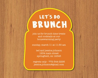 Brunch Invitation, Printable Brunch Invitation, Toast Invitation