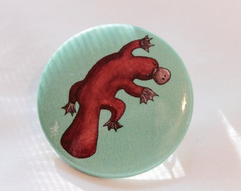 Platypus - Button Pin / Watercolor / Animal / Pinback Button / Accessories