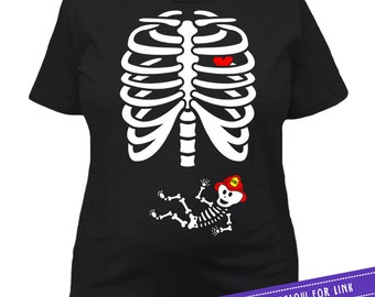 Halloween Maternity Shirt Pregnancy Reveal Skeleton T Shirt Pregnant Costume Baby Shower Gift New Baby Shirt Mother To Be Ladies Tee MAT-29