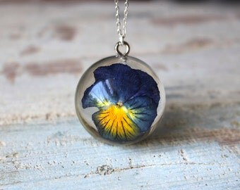 Real Pansy Blue And Yellow Resin Sterling Silver Pendant Necklace