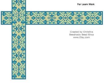Blue Meadow Pods Bead Loom Pattern