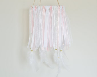 Dream Catcher Mobile, Pink Baby Mobile, Feather Mobile, Baby Girl Mobile, Boho Baby, Boho Nursery, Pink Nursery Decor, Bridal Shower Prop