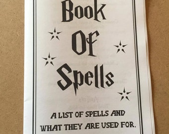 Printable Spell Book, Book of Spells, Harry Potter Spells, Party Favour