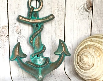 Copper Patina Anchor Decor - Anchor Wall Hook - Nautical Nursery Wall Decor - Beach House Decor - Bathroom Towel Hooks - Pool House Decor