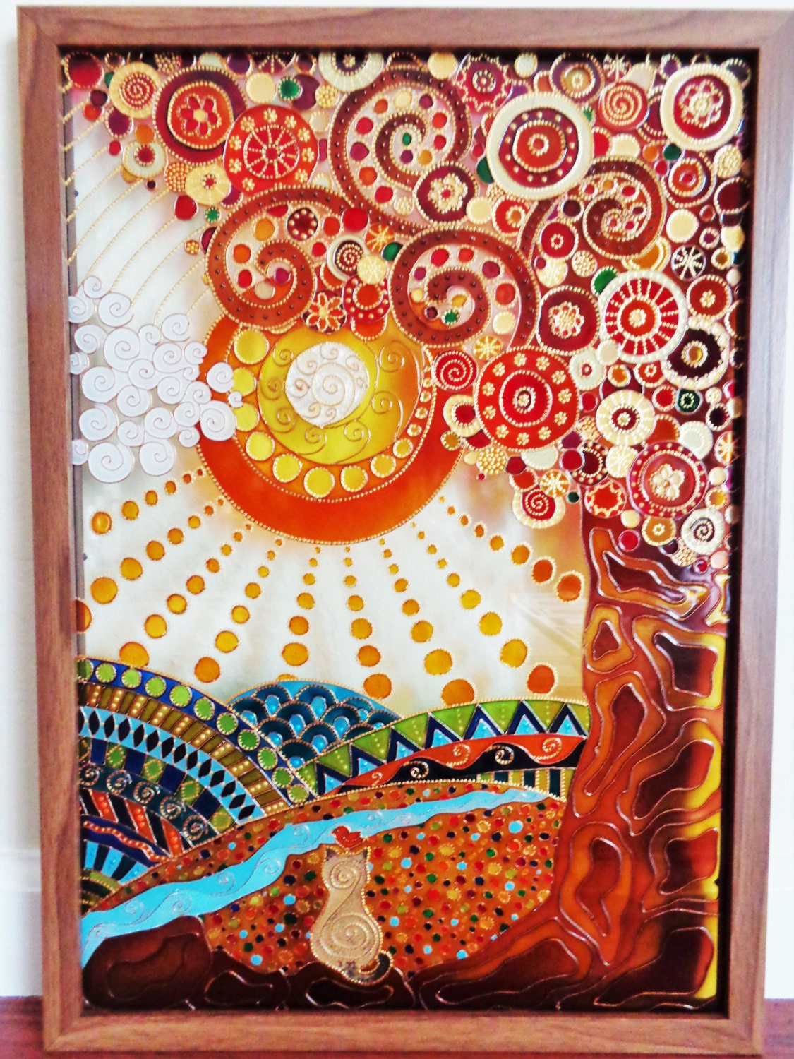 Tree of life 15x21 glass painting glass pannel Mural glass painting
